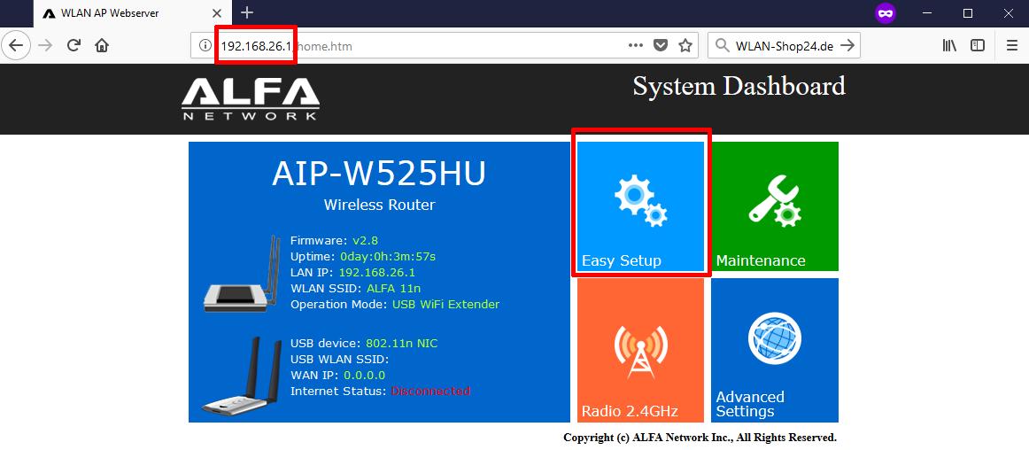 AIP-W525HU Konfiguration Schritt 1