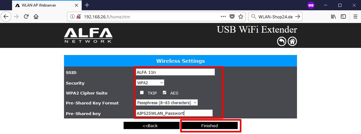 AIP-W525HU Konfiguration Schritt 5