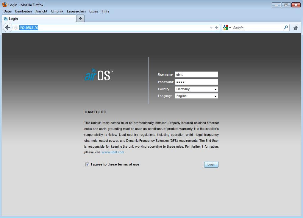 Ubiquiti PicoStation / Rocket als AccessPoint - Schritt 1