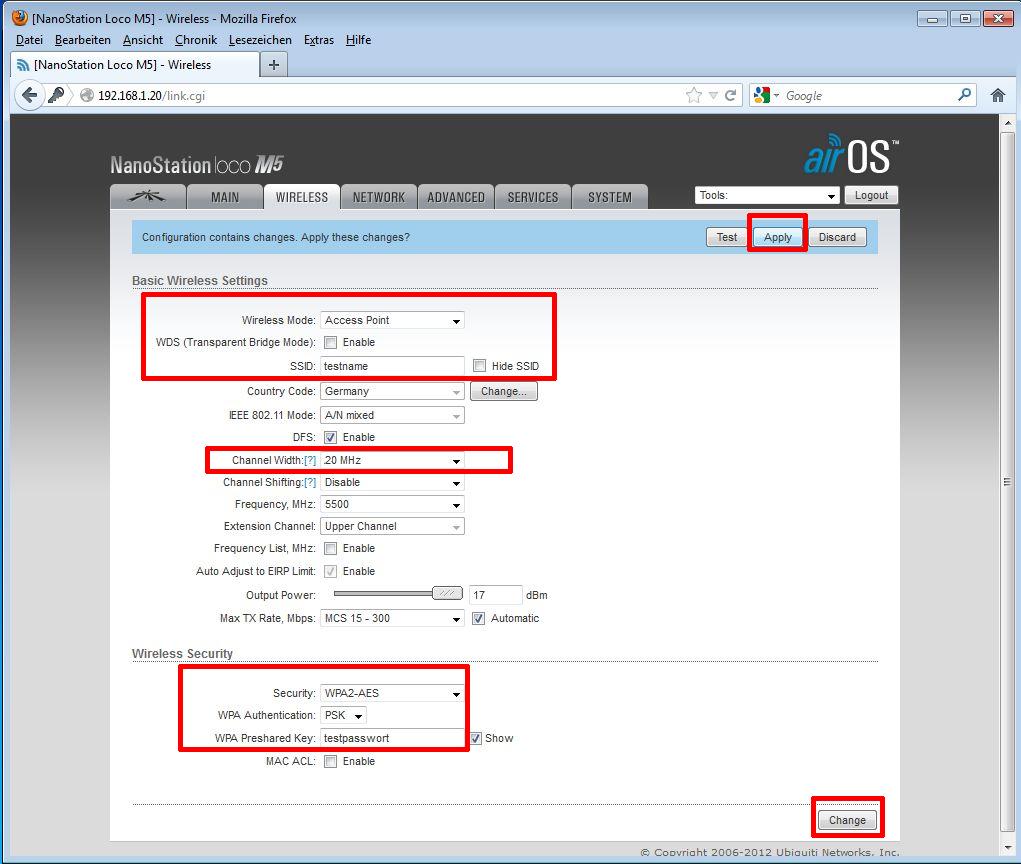 Ubiquiti PicoStation / Rocket als AccessPoint - Schritt 8