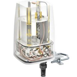 Halbtransparente Ansicht der Antenne mit Sicht auf alle relevanten Komponenten und Anschlüsse