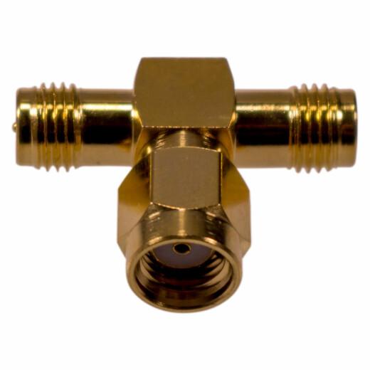 Koaxial Adapter / T-Stück RP-SMA Stecker auf 2 x RP-SMA Buchse