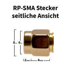 RP-SMA Stecker seitliche Ansicht