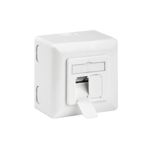 CAT.6a Ethernet Aufputzdose / Netzwerkdose - 2 x RJ45, LSA, bis 500MHz, geschirmt, Reinweiß