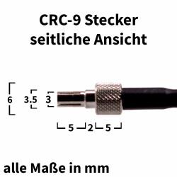 seitliche Ansicht des verwendeten CRC-9 Steckers mit Abmessungen