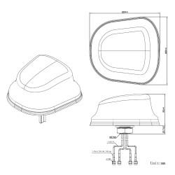 Konstruktionszeichnung in 2D der JCG605LM4 LTE Fahrzeug-Antenne