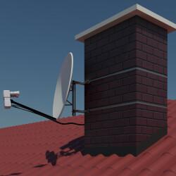 Anwendungsbeispiel an einem Schornstein mit einer Satelliten-Schüssel