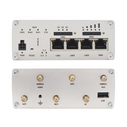 Übersicht aller Anschlüsse für Antennen, Ethernet und Strom am Router-Gehäuse